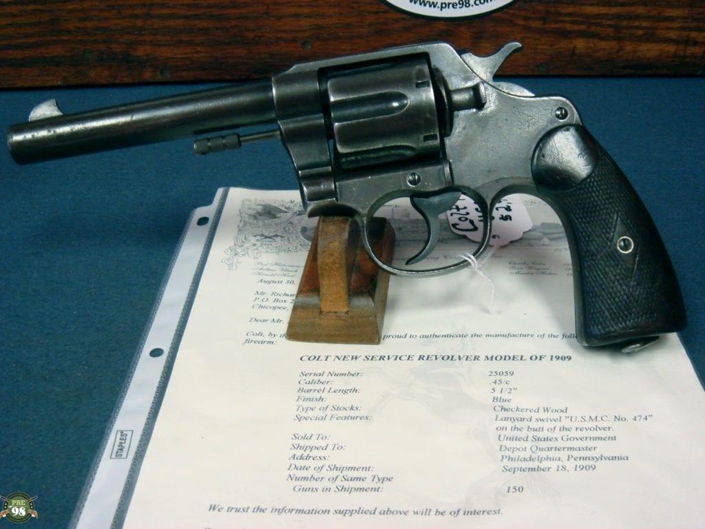 SOLD ULTRA RARE COLT USMC 1909 REVOLVER MATCHING GUN........WITH COLT  LETTER | Pre98 Antiques